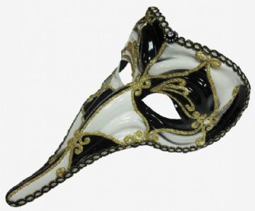 White & Black harlequin Long Nose mask (headband or ribbons)